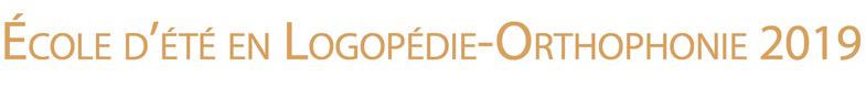 Ecole d'été en logopédie-orthophonie 2019 Logo